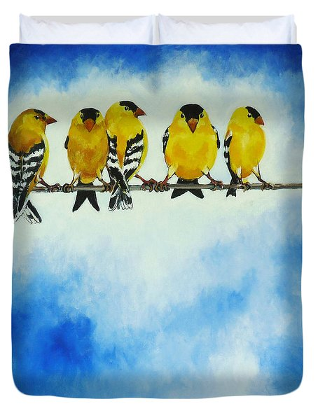 Goldfinch On A Wire Duvet Cover