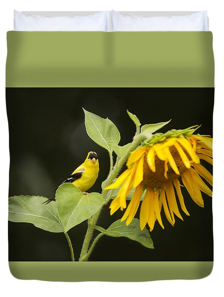 Goldfinch On Sunflower Duvet Cover