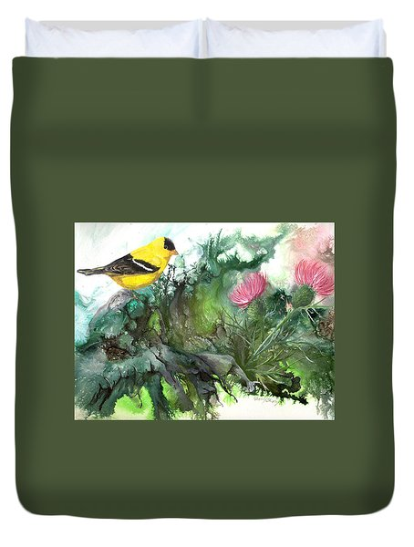 Duvet Cover featuring the painting Goldfinch by Sherry Shipley