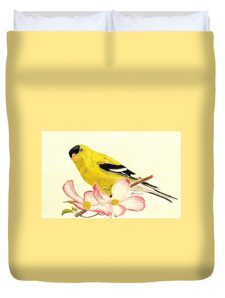 Goldfinch Spring Duvet Cover by Angela Davies