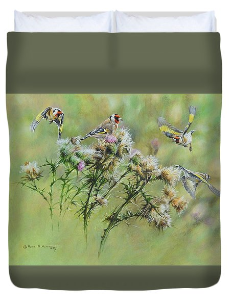Goldfinches On Thistle Duvet Cover