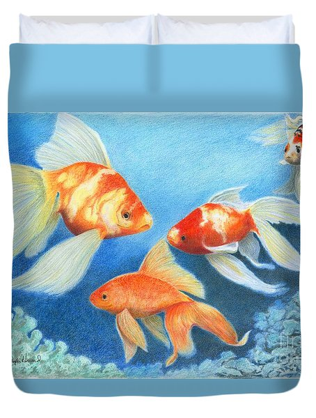 Goldfish Tank Duvet Cover by Phyllis Howard