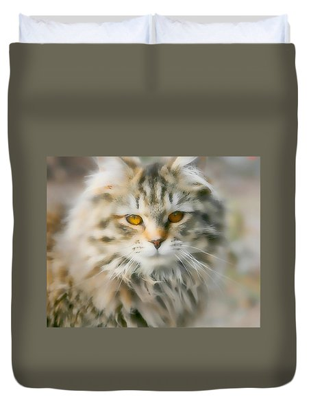 Goldie Golden Eyes Duvet Cover by Cathy Harper
