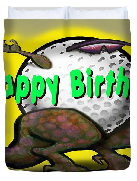 Golf A Saurus Birthday Duvet Cover by Kevin Middleton