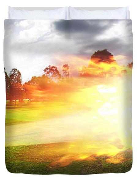 Golf Ball On Fire Duvet Cover