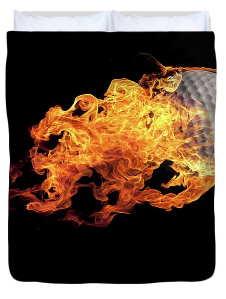 Golf Ball With Flames On Black Duvet Cover