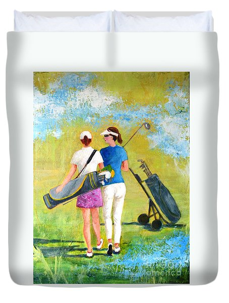 Golf Buddies #1 Duvet Cover by Betty M M Wong