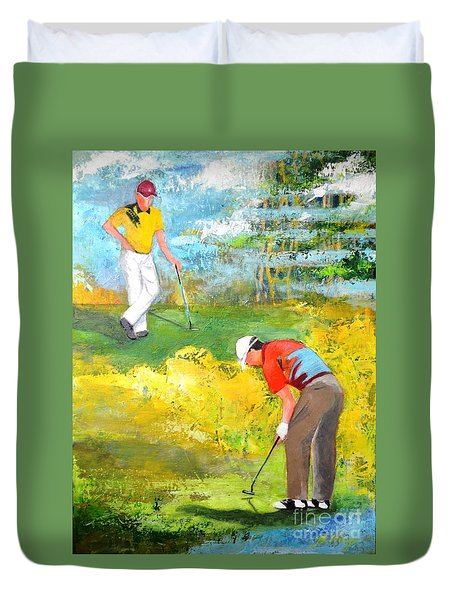 Golf Buddies #2 Duvet Cover by Betty M M Wong