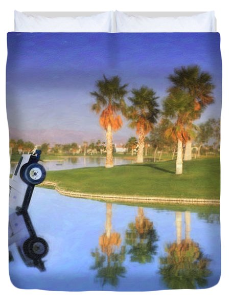 Duvet Cover featuring the photograph Golf Cart Stuck In Water by David Zanzinger