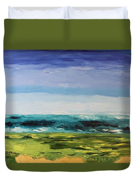 Duvet Cover featuring the painting Golf by Geeta Biswas