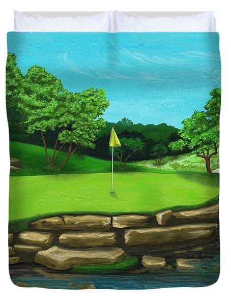 Golf Green Hole 16 Duvet Cover