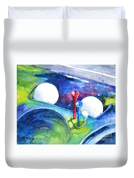 Golf Series - Back Safely Duvet Cover by Betty M M Wong
