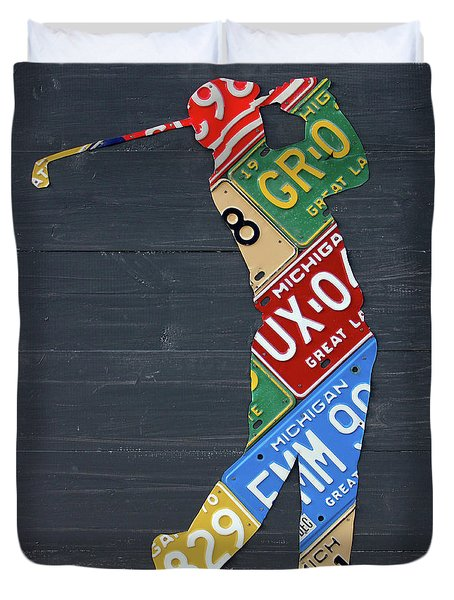 Golfer Silhouette Recycled Vintage Michigan License Plate Art Duvet Cover