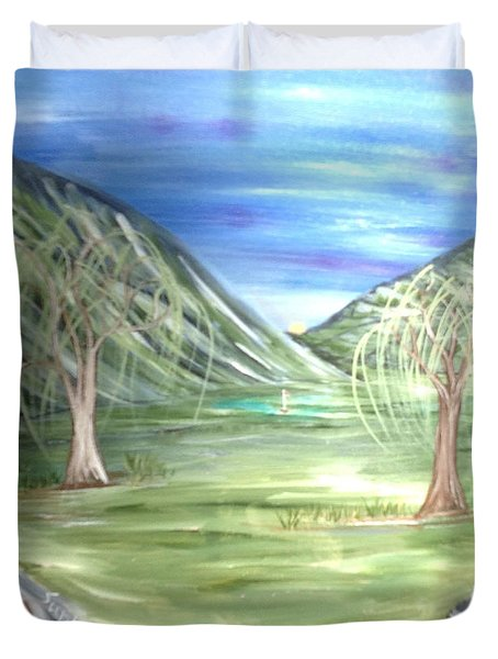 Golfing In Glacier Duvet Cover