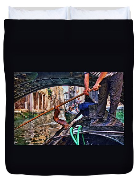 Duvet Cover featuring the photograph Gondola 2 by Allen Beatty