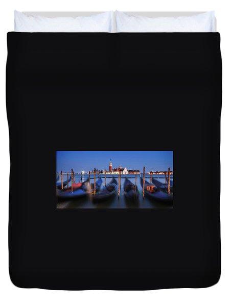 Duvet Cover featuring the photograph Gondolas And San Giorgio Maggiore At Night - Venice by Barry O Carroll
