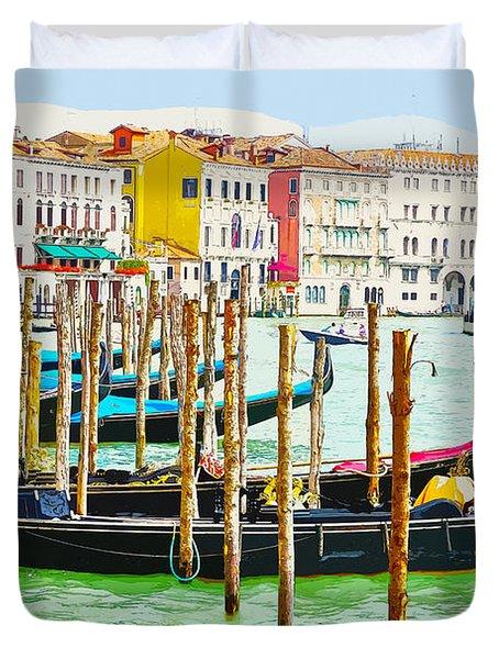 Gondolas On The Grand Canal Venice Italy Duvet Cover