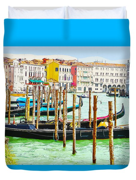 Gondolas On The Grand Canal Venice Italy Duvet Cover