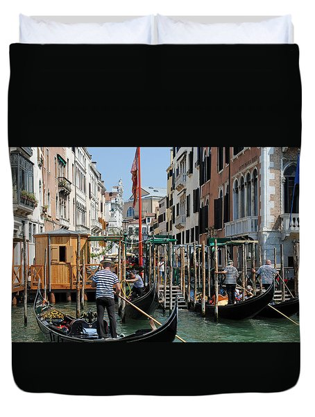Duvet Cover featuring the photograph Gondoliers by Robert  Moss