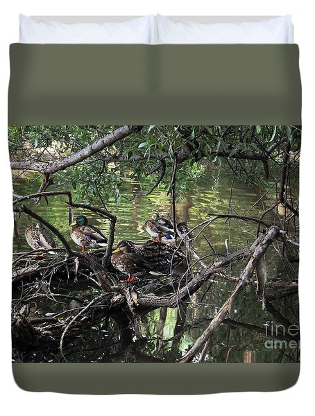 Gone Duck Hunting Duvet Cover by Natalie Ortiz