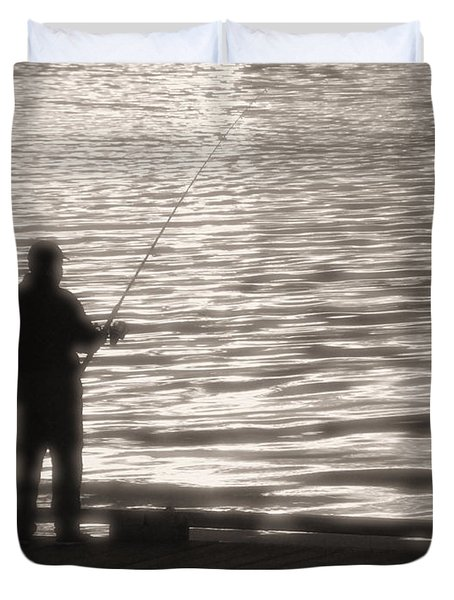 Gone Fishing Duvet Cover by Mark Alan Perry
