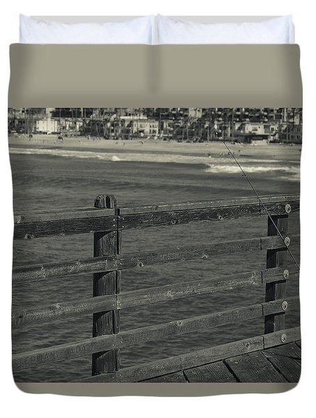 Gone Fishing In Black And White Duvet Cover by Nature Macabre Photography