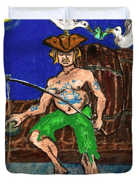 Gone Fishing Duvet Cover by William Depaula