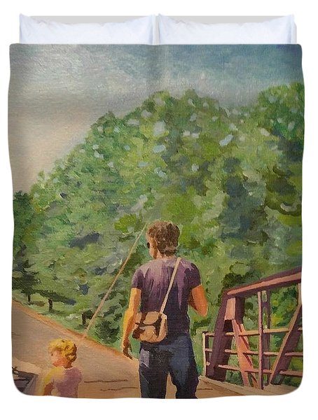 Gone Fishing With Dad Duvet Cover
