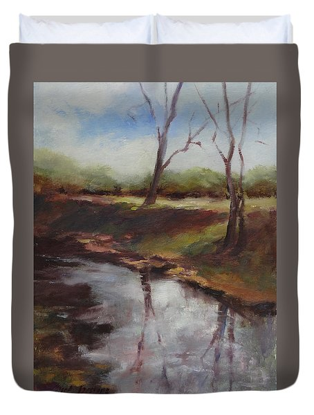 Gone To Get My Fishin' Pole Duvet Cover by Carol Berning