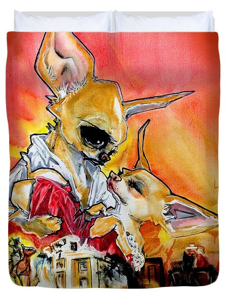 Gone With The Wind Chihuahuas Caricature Art Print Duvet Cover