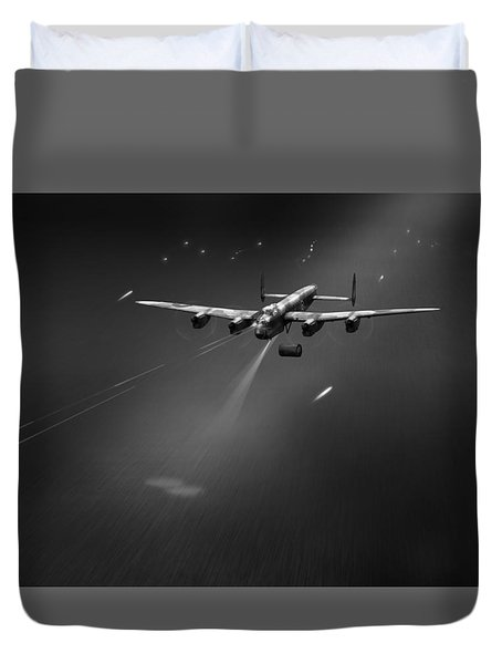 Duvet Cover featuring the photograph Goner From Dambuster J-johnny Bw Version by Gary Eason