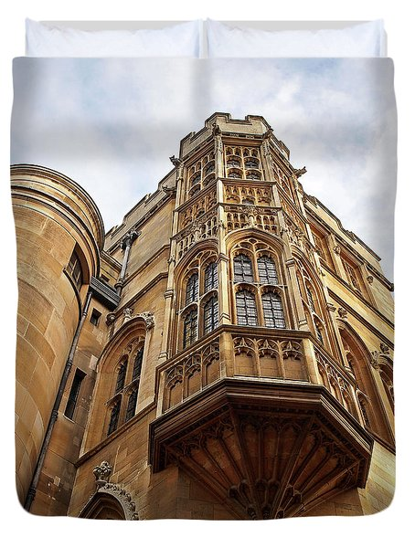 Duvet Cover featuring the photograph Gonville And Caius College Library Cambridge by Gill Billington