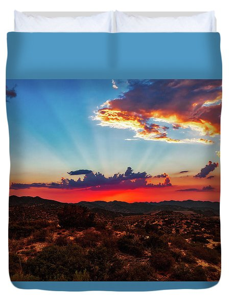 Duvet Cover featuring the photograph Good Evening Arizona by Rick Furmanek