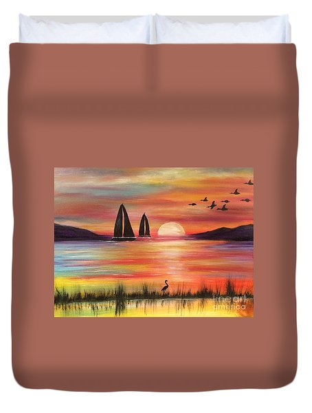Duvet Cover featuring the painting Good Eveving by Denise Tomasura