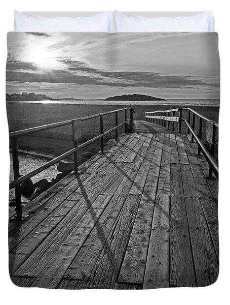 Good Harbor Beach Footbridge Shadows Black And White Duvet Cover