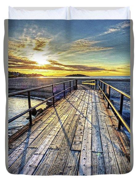 Good Harbor Beach Footbridge Shadows Duvet Cover