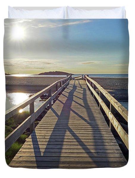 Good Harbor Beach Footbridge Sunny Shadow Duvet Cover