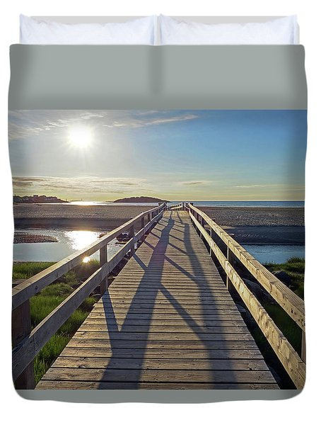 Good Harbor Beach Footbridge Sunny Shadow Duvet Cover