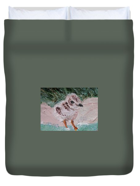 Good Harbor Piping Plover Chick #1 Duvet Cover