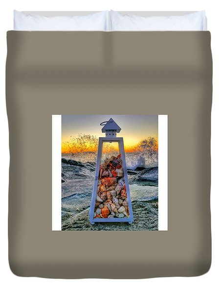 Shell Island Lighthouse Duvet Cover