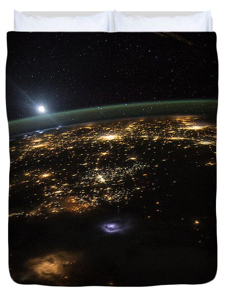 Good Morning From The International Space Station Duvet Cover