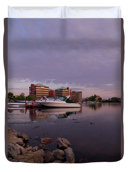 Duvet Cover featuring the photograph Good Morning Harbor by Joel Witmeyer