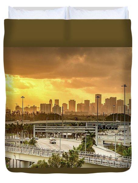 Miami City Sunrise Duvet Cover