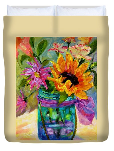 Duvet Cover featuring the painting Good Morning Sunshine by Chris Brandley