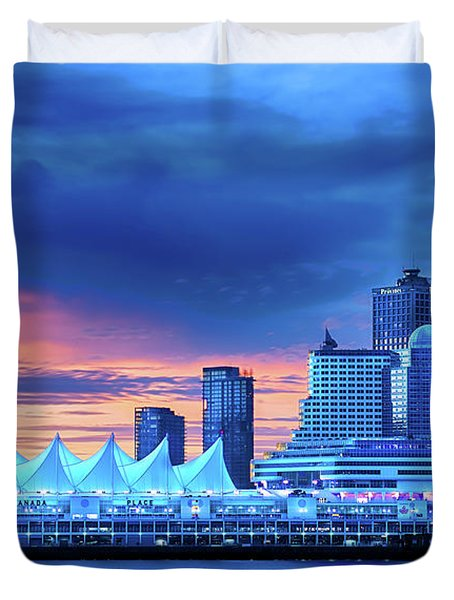 Duvet Cover featuring the photograph Good Morning Vancouver by John Poon