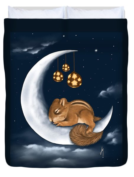 Duvet Cover featuring the painting Good Night by Veronica Minozzi