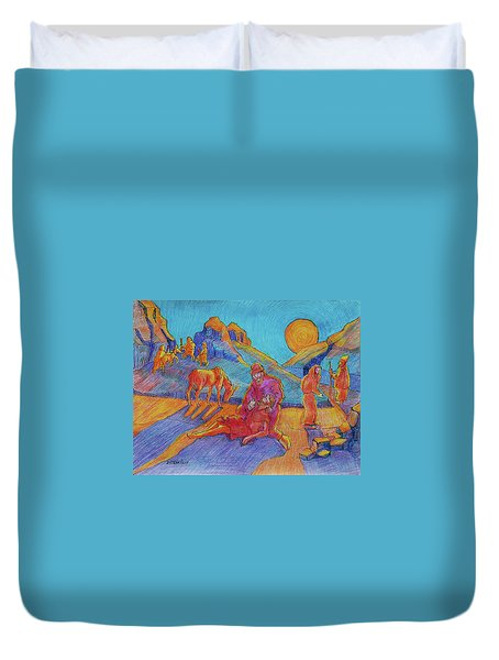 Good Samaritan Parable Painting Bertram Poole Duvet Cover