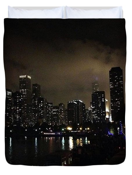 Chicago Skyline By Night Duvet Cover by Chantal Mantovani