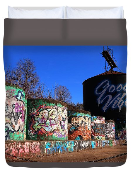 Good Vibes Asheville North Carolina Duvet Cover