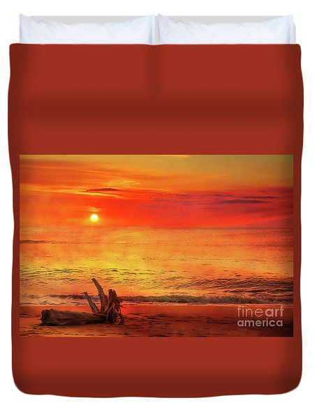 Duvet Cover featuring the digital art Goodbye Day by Randy Steele